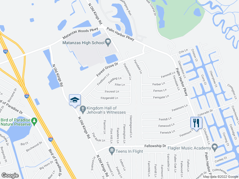 map of restaurants, bars, coffee shops, grocery stores, and more near 7 Fifer Ln in Palm Coast