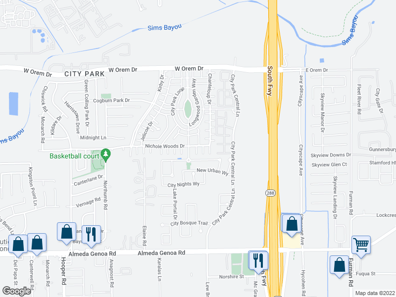 map of restaurants, bars, coffee shops, grocery stores, and more near 1575 Nichole Woods Dr in Houston