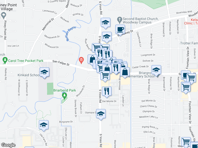 map of restaurants, bars, coffee shops, grocery stores, and more near 1725 S Voss Rd in Houston