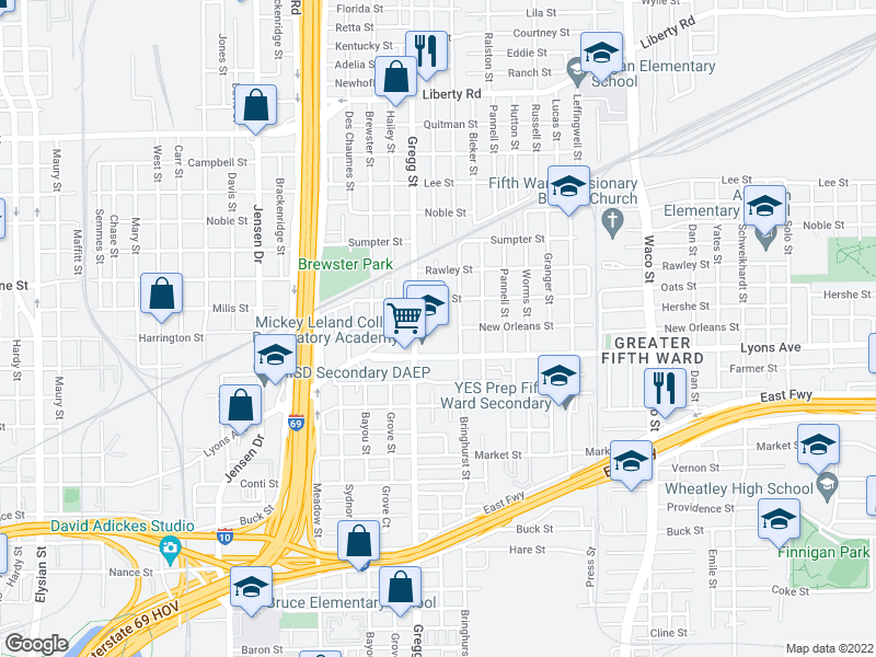 map of restaurants, bars, coffee shops, grocery stores, and more near 1700 Gregg St in Houston