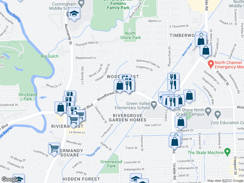 map of restaurants, bars, coffee shops, grocery stores, and more near 13006 Ferry Hill Ln in Houston