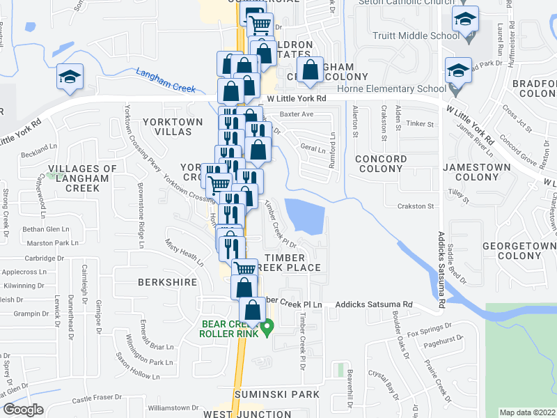 map of restaurants, bars, coffee shops, grocery stores, and more near 5730 Timber Creek Pl Dr in Houston