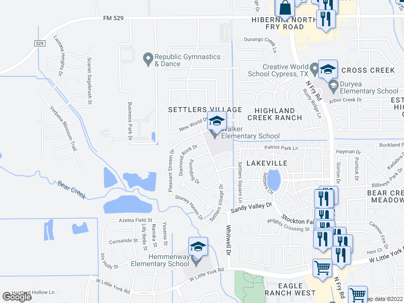 map of restaurants, bars, coffee shops, grocery stores, and more near 6426 Founding Dr in Katy