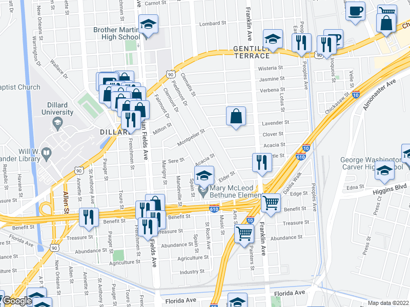 map of restaurants, bars, coffee shops, grocery stores, and more near 3655 Clermont Drive in New Orleans