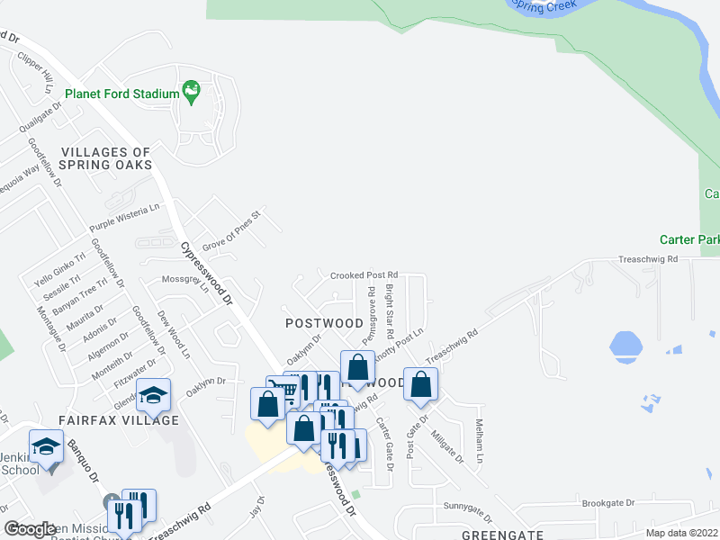 map of restaurants, bars, coffee shops, grocery stores, and more near 5935 Crooked Post Rd in Spring