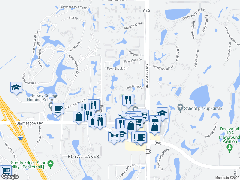map of restaurants, bars, coffee shops, grocery stores, and more near 2302 Wood Hill Place in Jacksonville