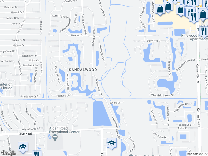 map of restaurants, bars, coffee shops, grocery stores, and more near 2101 Alfa Romeo Drive in Jacksonville