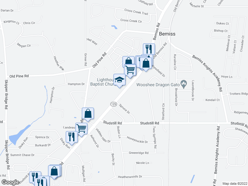 map of restaurants, bars, coffee shops, grocery stores, and more near 4520-4640 Bemiss Rd in Valdosta