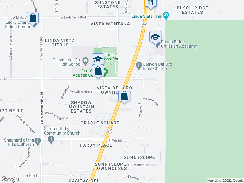 map of restaurants, bars, coffee shops, grocery stores, and more near 9050-9086 N Oracle Rd in Oro Valley