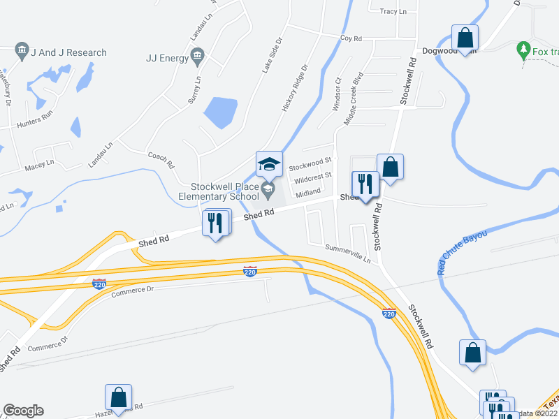 map of restaurants, bars, coffee shops, grocery stores, and more near 5801 Shed Rd in Bossier City