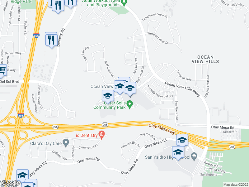 map of restaurants, bars, coffee shops, grocery stores, and more near 1375 Surfwood Ln in San Diego