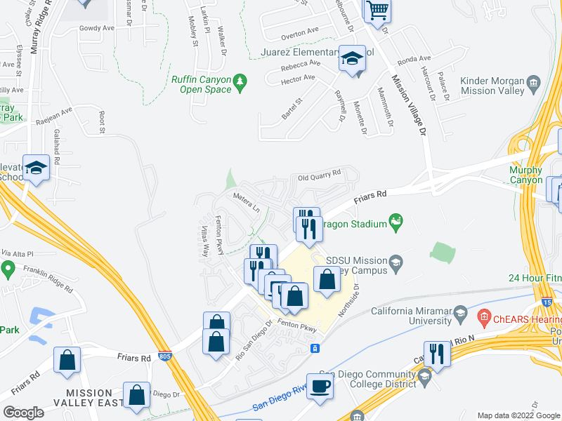 map of restaurants, bars, coffee shops, grocery stores, and more near Northside Dr & Old Quarry Rd in San Diego