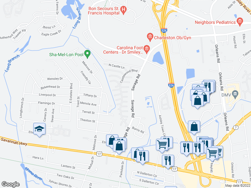 map of restaurants, bars, coffee shops, grocery stores, and more near 885 Castlewood Blvd in Charleston