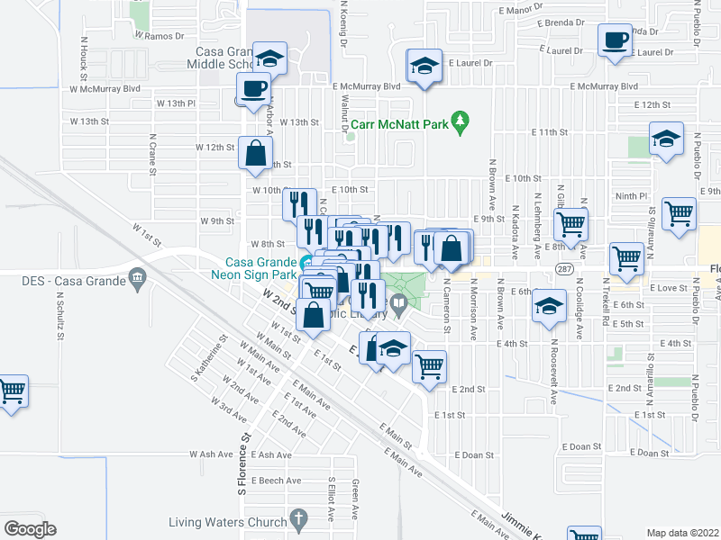 map of nearby restaurants, bars, coffee shops, groc