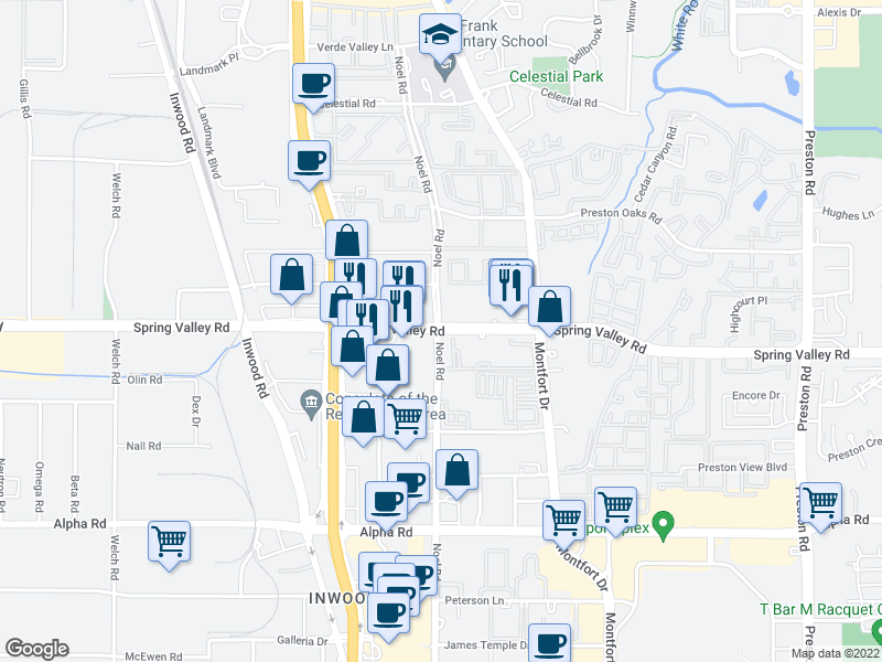 map of restaurants, bars, coffee shops, grocery stores, and more near 5301 Spring Valley Road in Dallas