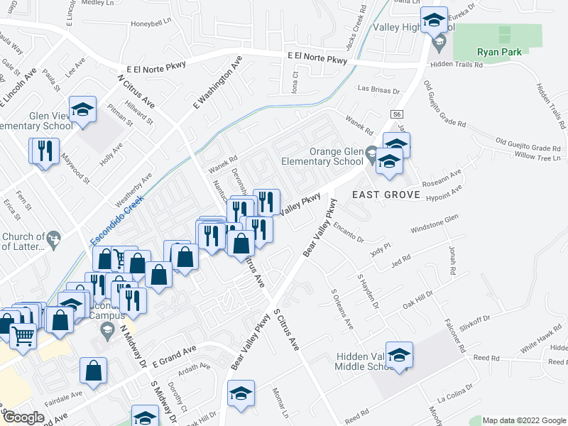 map of restaurants, bars, coffee shops, grocery stores, and more near 2530 Valley Pkwy in Escondido