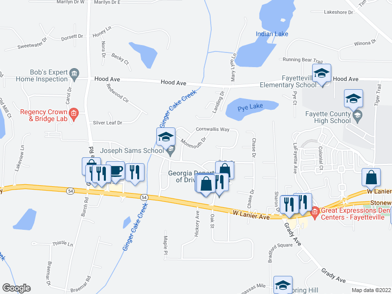 map of restaurants, bars, coffee shops, grocery stores, and more near 255 Monmouth Dr in Fayetteville