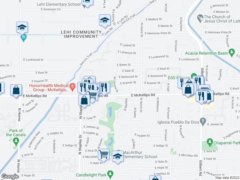 map of restaurants, bars, coffee shops, grocery stores, and more near 1467-1491 E McKellips Rd in Mesa