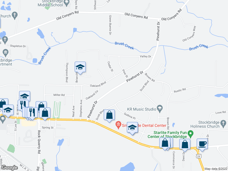 map of restaurants, bars, coffee shops, grocery stores, and more near 185 Pinehurst Dr in Stockbridge