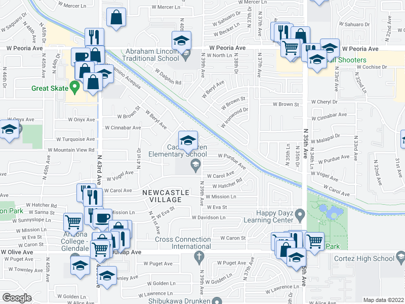 map of restaurants, bars, coffee shops, grocery stores, and more near 9650 N 39th Ave in Phoenix