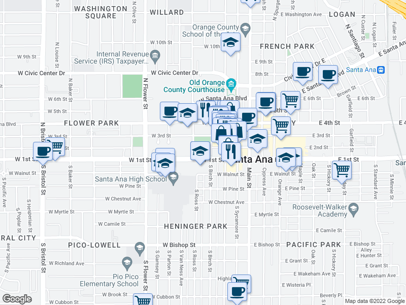 map of restaurants, bars, coffee shops, grocery stores, and more near 401 W 1st St in Santa Ana