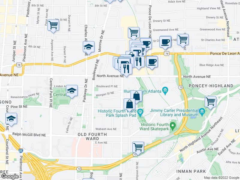 map of restaurants, bars, coffee shops, grocery stores, and more near 586 Morgan St NE in Atlanta