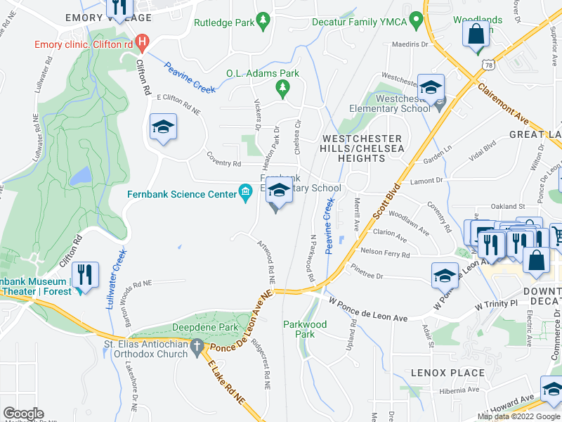 map of restaurants, bars, coffee shops, grocery stores, and more near 1823 Dyson Dr in Decatur