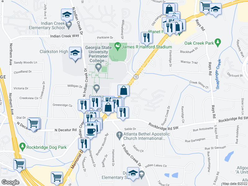 map of restaurants, bars, coffee shops, grocery stores, and more near 4944 Memorial Dr in Stone Mountain