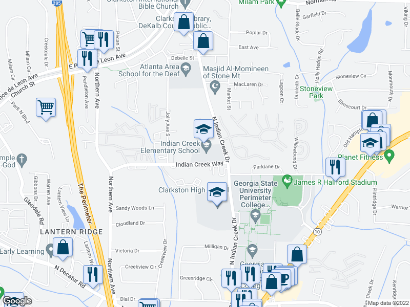 map of restaurants, bars, coffee shops, grocery stores, and more near 3604-3672 Indian Creek Way in Clarkston