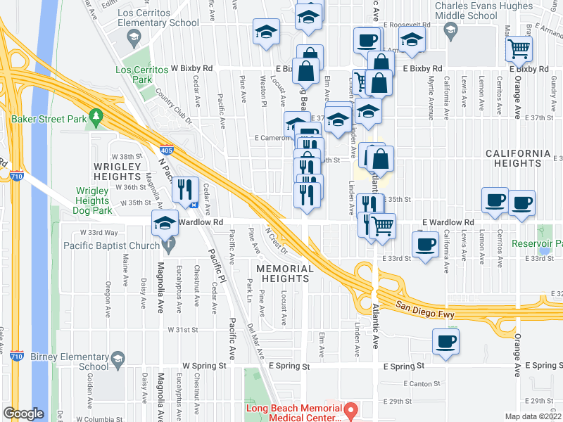 map of restaurants, bars, coffee shops, grocery stores, and more near Locust Avenue in Long Beach