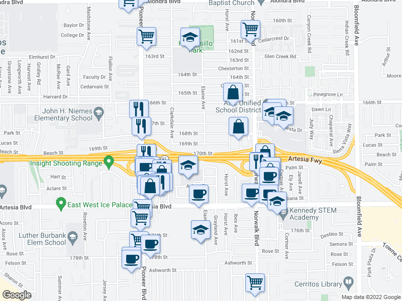 map of restaurants, bars, coffee shops, grocery stores, and more near 11977 169th St in Artesia