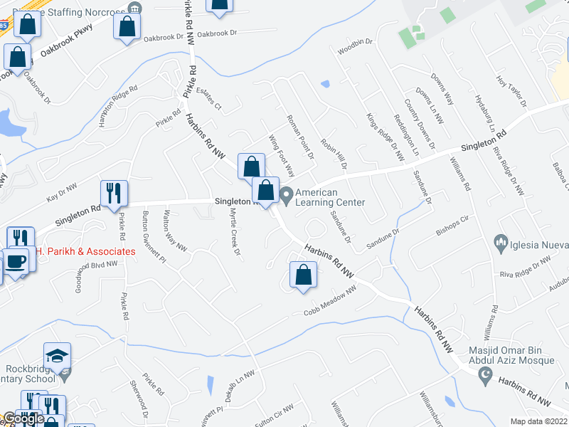 map of restaurants, bars, coffee shops, grocery stores, and more near 5600-5998 Terremont Circle in Norcross