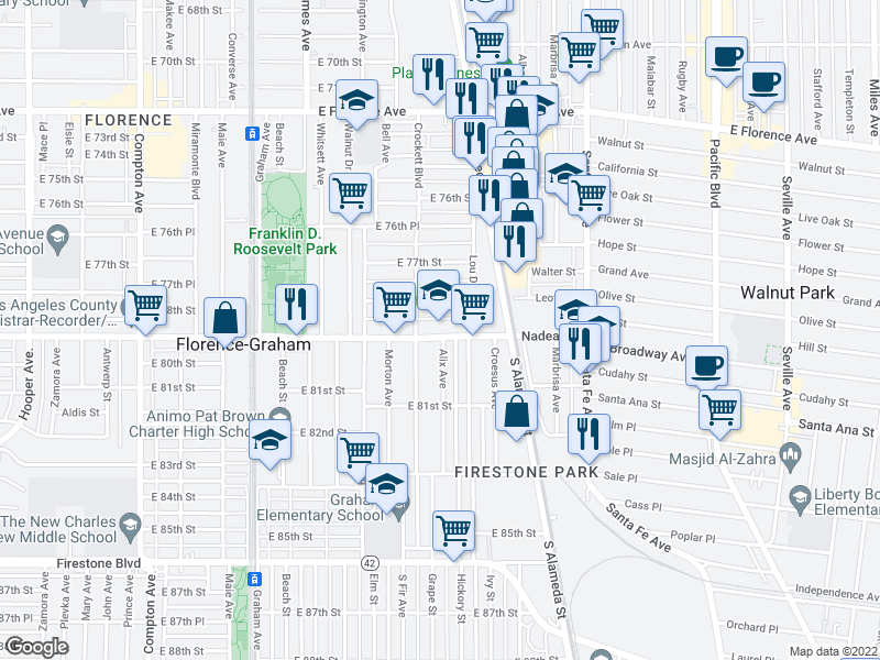 map of restaurants, bars, coffee shops, grocery stores, and more near 2023 Nadeau St in Los Angeles