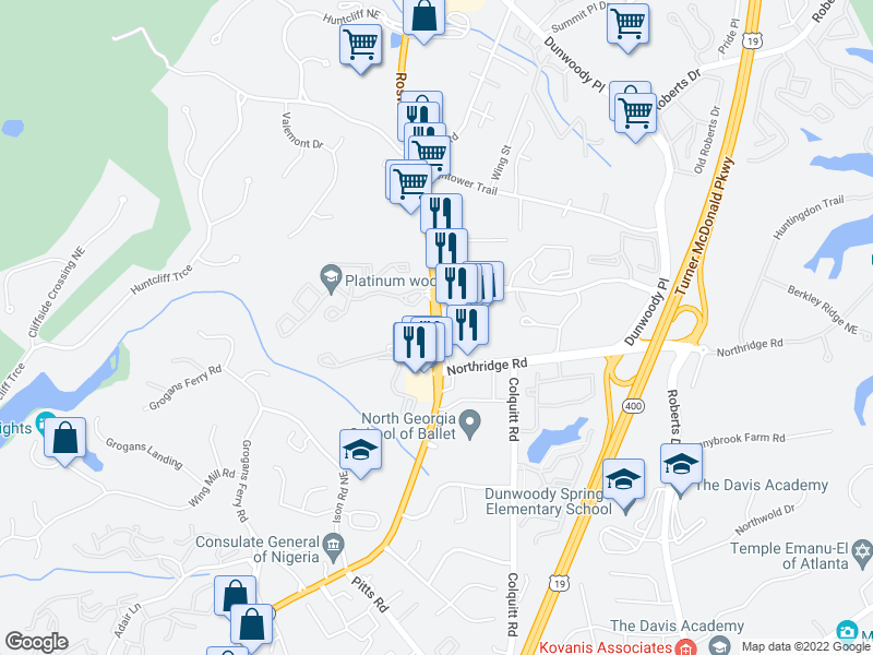 map of restaurants, bars, coffee shops, grocery stores, and more near 491-599 Sugar Mill Rd in Sandy Springs