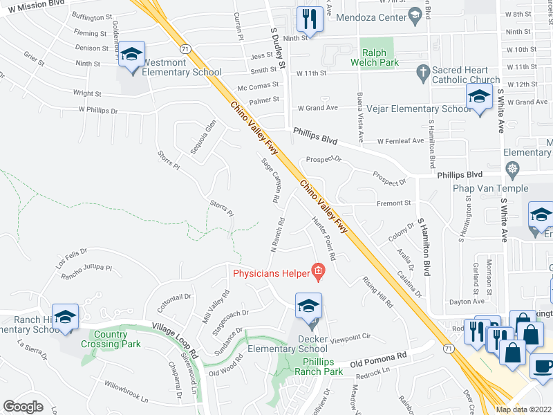 map of restaurants, bars, coffee shops, grocery stores, and more near 1-99 Sage Canyon Rd in Pomona