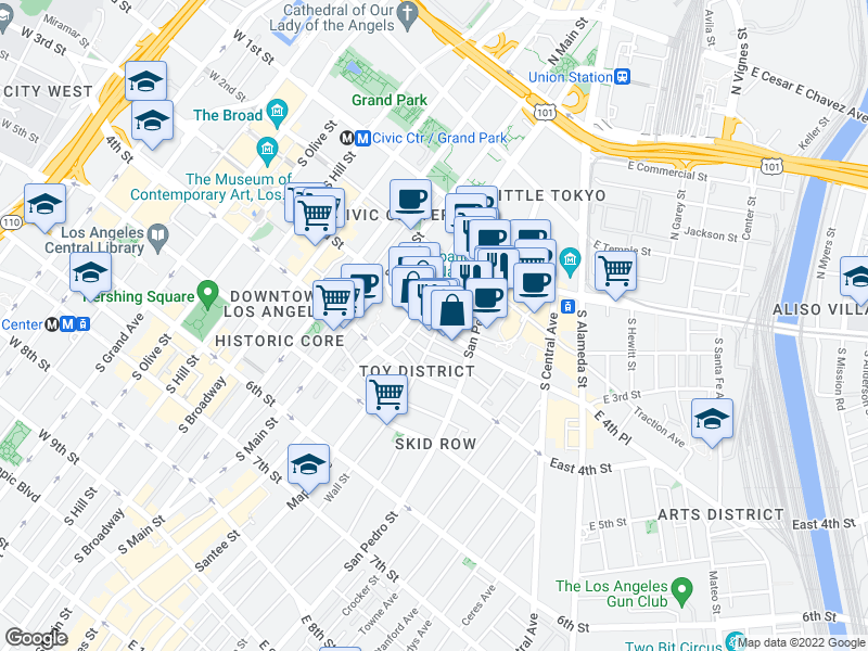 map of restaurants, bars, coffee shops, grocery stores, and more near 231 E 3rd St in Los Angeles