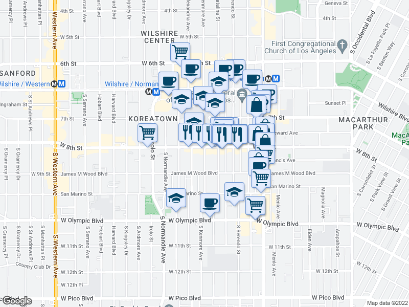 map of restaurants, bars, coffee shops, grocery stores, and more near 800 S Kenmore Ave in Los Angeles
