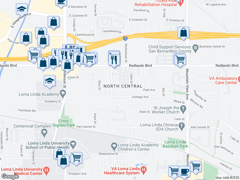 map of restaurants, bars, coffee shops, grocery stores, and more near 1-99 Willa St in Loma Linda