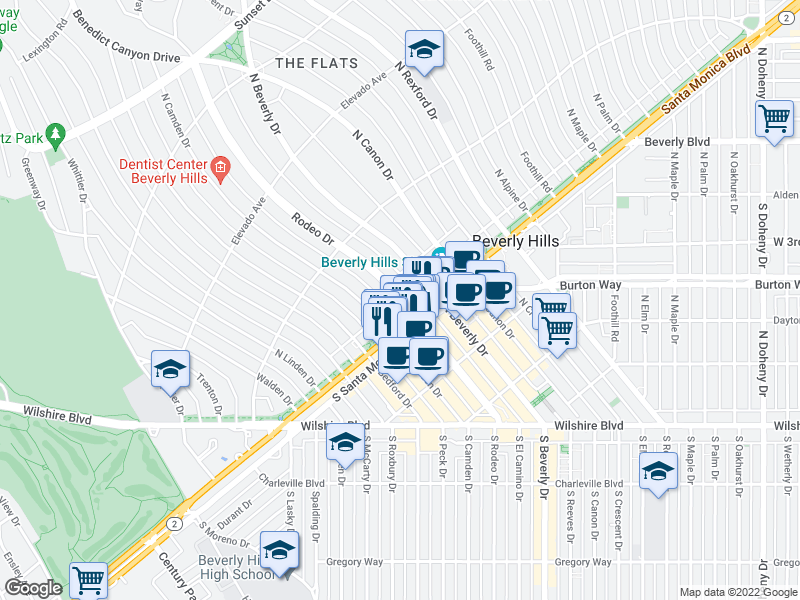map of restaurants, bars, coffee shops, grocery stores, and more near 504 N Camden Dr in Beverly Hills