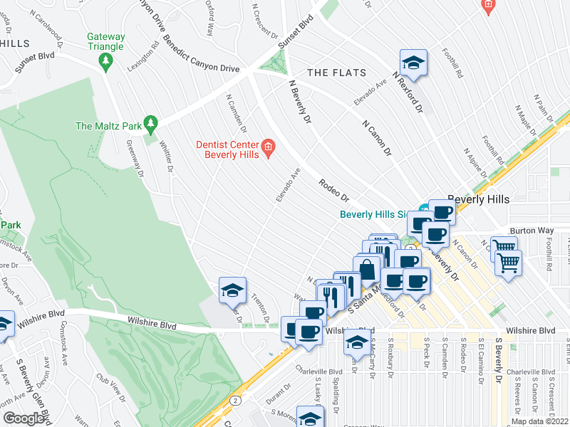 map of restaurants, bars, coffee shops, grocery stores, and more near North Bedford Drive in Beverly Hills