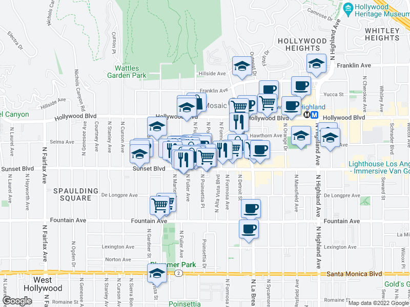 map of restaurants, bars, coffee shops, grocery stores, and more near 1551 N Poinsettia Pl in Los Angeles