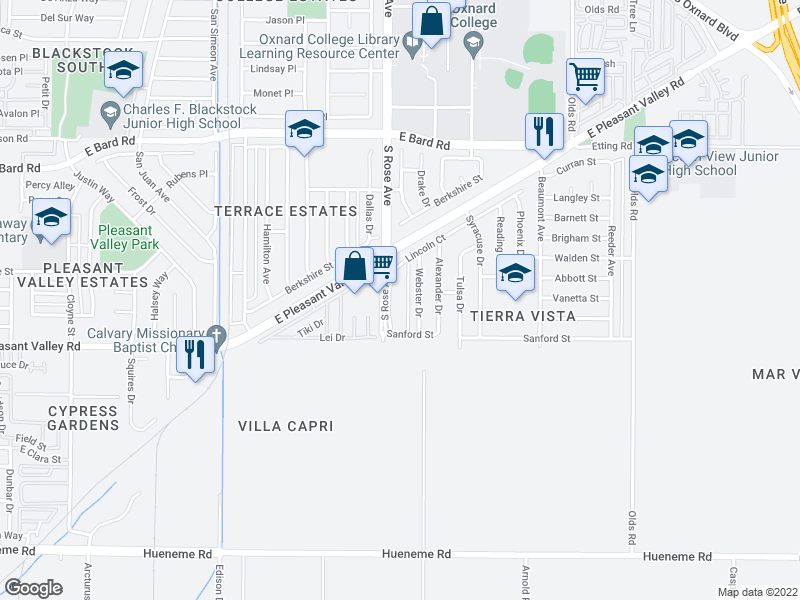 map of restaurants, bars, coffee shops, grocery stores, and more near 4831 Webster Dr in Oxnard