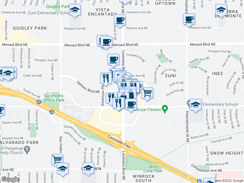map of restaurants, bars, coffee shops, grocery stores, and more near Louisiana Blvd NE & Uptown Blvd NE in Albuquerque