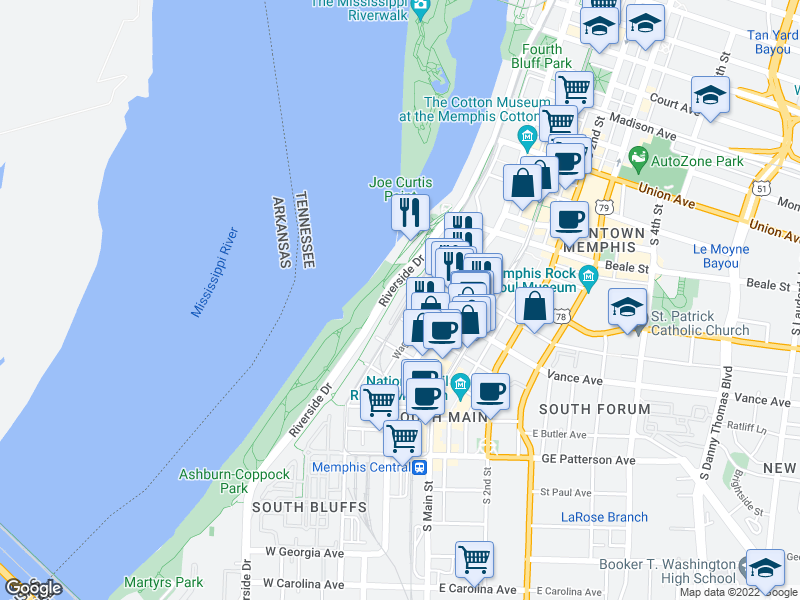 map of restaurants, bars, coffee shops, grocery stores, and more near Riverbluff Place in Memphis