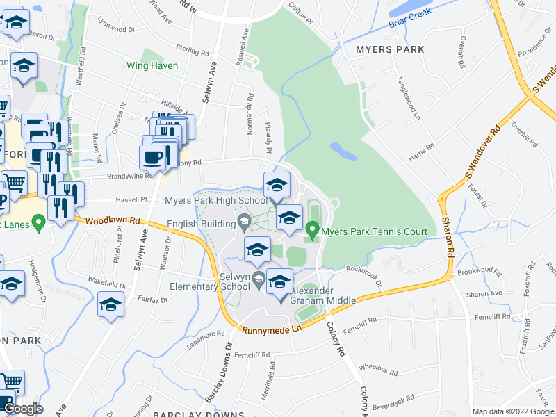 map of restaurants, bars, coffee shops, grocery stores, and more near 2412 Colony Rd in Charlotte