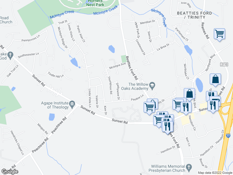 map of restaurants, bars, coffee shops, grocery stores, and more near 4020-4024 Fifendrum Ln in Charlotte