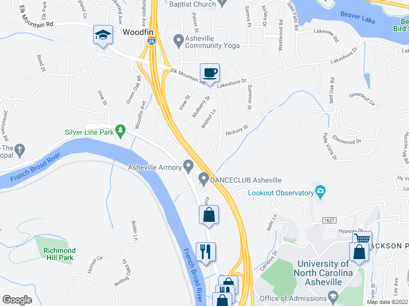 map of restaurants, bars, coffee shops, grocery stores, and more near 27 Elkwood Ave in Asheville
