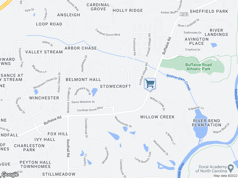 map of restaurants, bars, coffee shops, grocery stores, and more near Stowecroft Lane in Raleigh