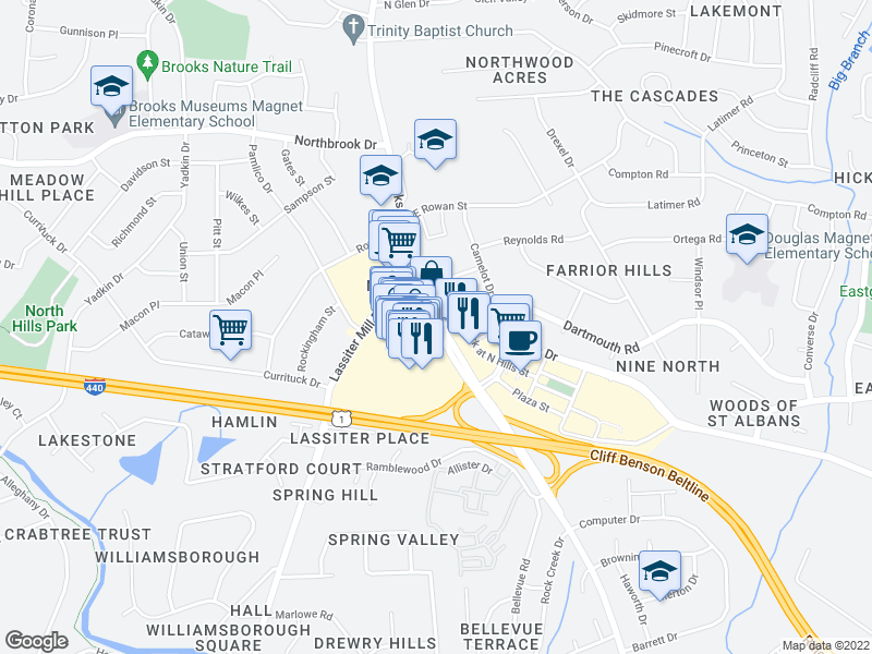 map of restaurants, bars, coffee shops, grocery stores, and more near Six Forks Rd & Dartmouth Rd in Raleigh