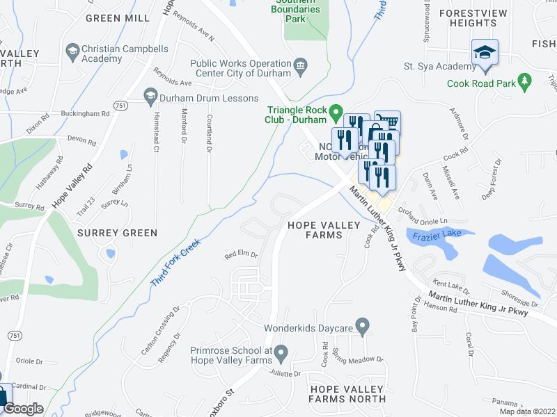 map of restaurants, bars, coffee shops, grocery stores, and more near 214 Grey Elm Trail in Durham